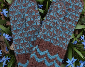 Finely Hand Knitted Estonian Mittens in Brown and Blue - warm and windproof