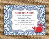 Crab Invitation, Under The Sea,Birthday Invite, Baby Shower Invite, Crab Birthday, Boy Invitation, Printable Invitation, Nautical Theme