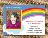 Rainbow Invitation, Girls 1st Birthday, Rainbow Birthday, Rainbow Party, First Birthday, Photo Invitation, Printable Invitation