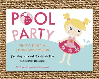 Pool Party Invite, Girl Pool Party, Girl Birthday, Pool Party, Printable Invitation, Swim Party, Summer Party