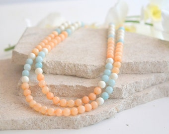 Multi Strand Statement Necklace with Peach Jade, Amazonite and Ivory Stones.  Peach Blue Statement Necklace. Chunky Strand Fashion Jewelry.