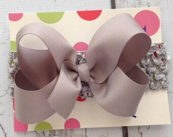 SALE  Silver Grey Hair Bow with Headband - Infant Hair Bow and Headband - Shocking Pink Hair Bow