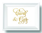 Printable Gold Wedding Sign, Gold and White Wedding Cards and Gifts Sign, Gift Table Sign, DIY wedding reception sign