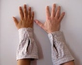 Flannel Gauntlets - Pale Past Plaid - unisex pastel wrist wraps made from repurposed material
