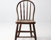 antique spindle chair, brown wood dining chair