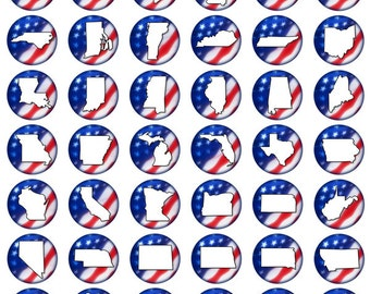 State Silhoutte Red White and Blue Pinback Flatback Button Badge or Magnets 1 inch set of 10