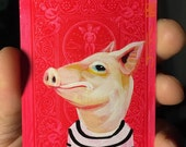 Pig portrait on a playing cards. Original acrylic painting. 2012