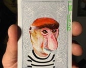 Proboscis Portrait on a Playing Cards. Original acrylic painting. 2011