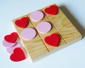 Valentine Tic Tac Toe Game, Hearts and Circles, Wooden Game, Classic Game