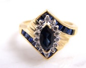 Vintage Genuine Marquise Sapphire and Diamond Engagement Ring 14k Yellow Gold