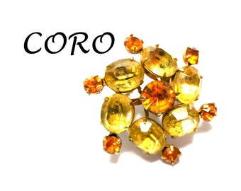40s CORO Brooch in Sunny Yellow and Orange Rhinestones Ovals Retro Color Swirl of Sunshine! Great Gift