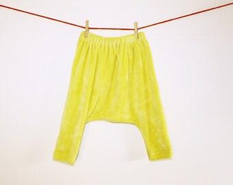 Harem pants ORGANIC BAMBOO VELOUR Lemon Drop crotch Yellow baby pj fluffy hipster pants for cloth diapers 9 mo unisex Bertie Bums