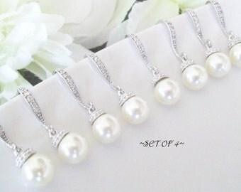 Set of 4 Bridesmaids Earrings Bridal Pearl Earrings,Swarovski Pearls,Cubic Zirconia Drop Pearl Earrings,Bridesmaid Earrings,4 Pairs Earrings