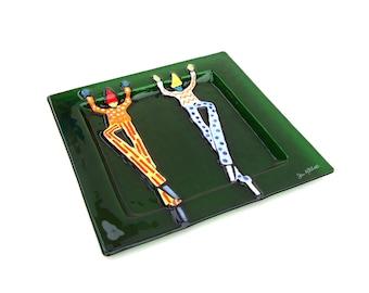 Vintage Art Glass Square Green Clown Tray Retro Modern DecorAbstract Original Fused Art Glass Jan Mitchell