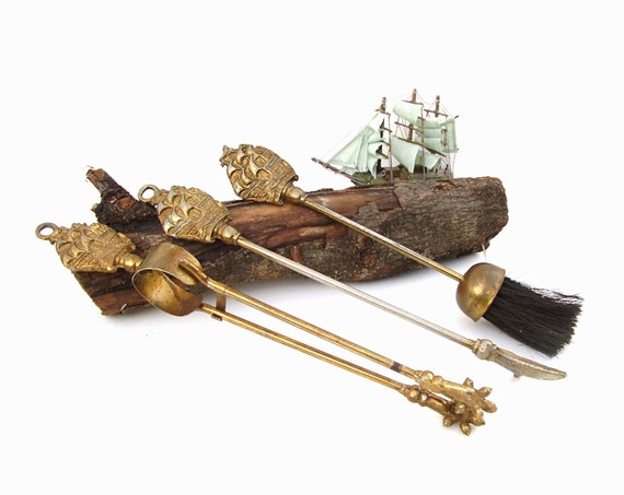 Items similar to Vintage Fireplace Tools Nautical Brass