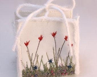 Wedding favor box tulips floral wedding favour Birthday Gift box trinket keepsake treasure box purse gardeners gift embroidery