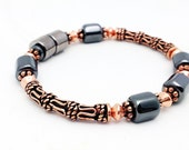 Bracelet Pure Copper & Black Hematite Magnetic Therapy Super High Power Wellness FREE gift card