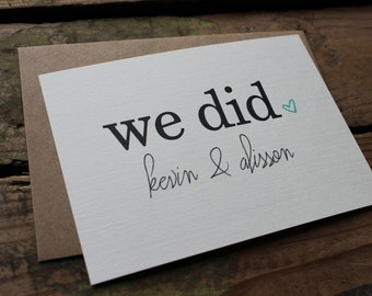 We Did Wedding Thank You Notes, Custom Names and Wedding Colors, Calligraphy Font, Bride and Groom, Heart