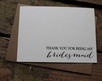 Wedding Party Thank You Cards with Envelopes / Bridesmaid / Maid or Matron of Honor / Best Man / Groomsman / Set of 10