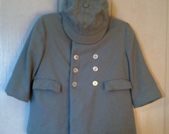 Wool Coat Hat Toddler Boy Girl Size 2 Pale Blue Dress Coat Vintage