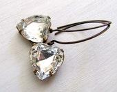 Vintage Crystal Heart Earrings Crystal Earrings Vintage Crystal Drop Earrings Rhinestone Dangle Earrings Rhinestone Heart Earrings Romantic