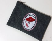 Madame Embroidered Felt Zippered Makeup Bag, Handmade Gifts for Her