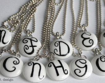 Elegant Swirl Monogram Glass Charm on Stainless Steel Necklace