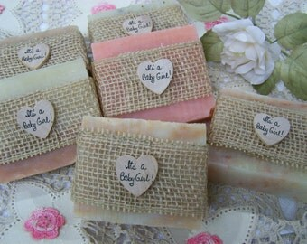 It's a Girl! - It's a Baby Girl! - 30 large handmade soaps - baby shower favors - pink and ivory soaps