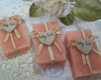 It's a Girl, Baby shower favors, 30 mini soaps, shea butter, handmade, PINK Lavender SOAPS. will customize or personalize for you