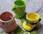Three Rare Royal Art Pottery Egg Cups,Green  Pink and Yellow   Wonderful Easter Gifts