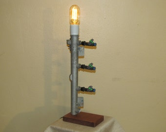 Found Metal Artifact Lamp 113 With Vintage Style Light Bulb  FP