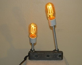 Found Metal Object Lamp 117 With Vintage Style Light Bulbs  FP