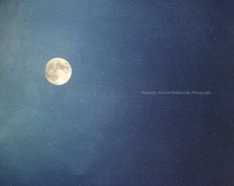 Moon, Stars,  Winter, Dark, Blue, Cobalt Blue, Navy, Nature Photograhy, Night Sky
