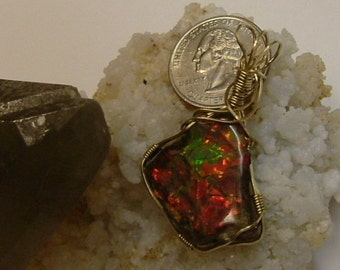 Bright Red, Green and Yellow Fire Ammolite from Utah Deposit Gold Filled Wire Wrap Pendant  315