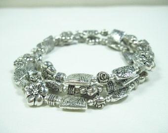 Tibetan Silver Flower Leaf Rose Wrap Memory Wire Bracelet
