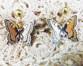 Vintage Orange and Black Guilloche Butterfly Clip Earrings - BUT-17 - Orange Butterfly Earrings - Guilloche Clip Earrings