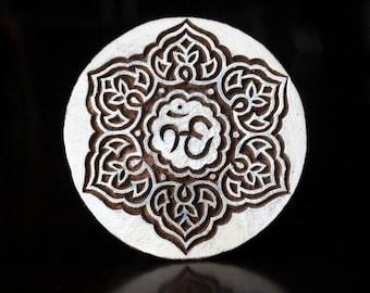 Hand Carved Indian Wood Stamp, Textile Stamp, Blockprint Stamp, Pottery Stamp - Om