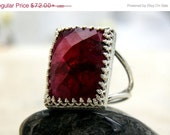 BLACK FRIDAY SALE - Ruby ring,Rectangular ring,large ring,statement ring,silver ring,rectangle ring,wow ring,July birthstone