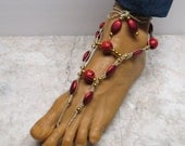 RED TIGER.  Black, red, and gold barefoot sandals made with hemp. Bellydance and beach fashion! Queen style. HFT-355