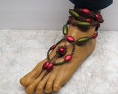 CLIMBING ROSES. Roman Style. Pair of red, brown, and green soleless sandals.  Bellydance barefoot fashion! HFT-370