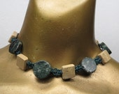 Hunter Green hemp choker necklace with green and taupe marble stones. Long ties in back. HCK-030