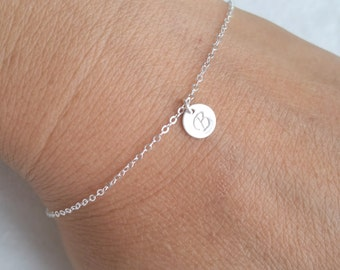 Tiny Silver Initial Bracelet, Personalized Bracelet, Sterling Silver Initial Bracelet, everyday, gift