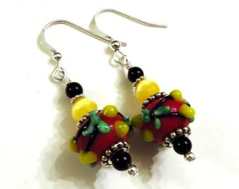 Red Floral Lampwork Earrings, Red Earrings, Red Lampwork Earrings, Black Earrings, Yellow Earrings, Lampwork Jewelry