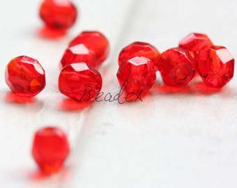 50 Pieces / Czech Fire Polish / Glass / Faceted Round / Siam Ruby (9008//M436)