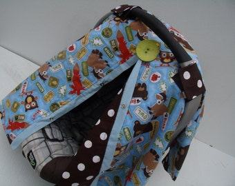 Carseat Canopy Flannel Forest Creatures carseat cover nursing cover