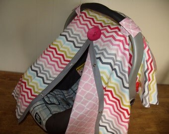 Carseat Canopy Multi Girl Chevron Pink Lattice REVERSIBLE