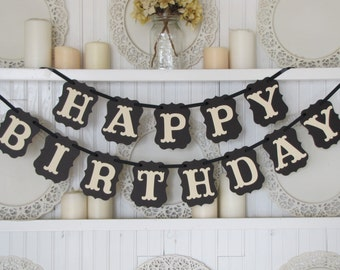 HAPPY BIRTHDAY  Banner, Birthday Decoration, Sweet 16, 40th Birthday, 50th Birthday, Happy Birthday Sign