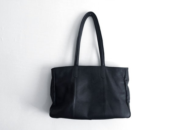SALE BLACK LEATHER tote oversized large weekender travel bag