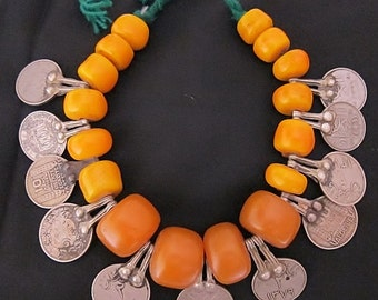 Faux Amber Beads with Old coins from Morocco