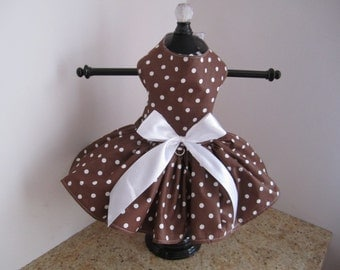 Dog Dress Brown With White  Polkadots
